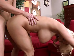 Doggy style fucking huge tits milf with a facial