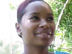 Ebony Cece outdoors wearing bra and fishnet seethrough shirt